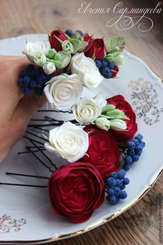 Купить Шпильки, цветы из полимерной глины - марсала, шпильки для волос, цветы ручной работы