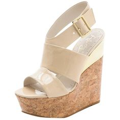 Pre-owned Alice + Olivia + Steffie Leather Cork Sandal Nude Wedges ($199) ❤ liked on Polyvore featuring shoes, sandals, nude, metallic wedge sandals, cork platform sandals, platform sandals, cork sandals and leather platform sandals