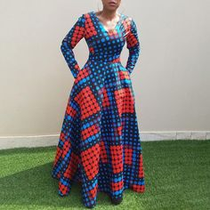 Vintage Polka Dots Long Dress African Clothing Long Sleeve Autumn Winter Swing Printed Ladies Tunic Retro Dress Size M Color Blue African Maxi Dresses, Latest African Fashion Dresses, African Dresses For Women, African Print Fashion, African Attire, African Wear, Ankara Gowns, Modern African Dresses, Long Ankara Dresses