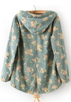 Multicolor Floral Bat Sleeve Denim Trench Coat