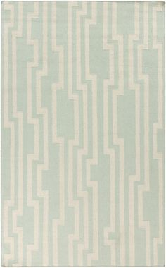 Flat weave wool rug is just the perfect shade of mint green for a fresh look. Designed by @Candice Olson for the Market Place Collection from Surya. (MKP-1010)
