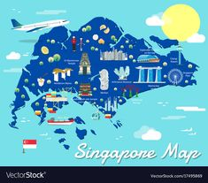 Singapore map with colorful landmarks illustration design , Best Pictures Ever, Cool Pictures, Travel Maps, Travel Posters, Singapore National Day, Henderson Waves, Singapore Map, World Thinking Day, Travel Illustration