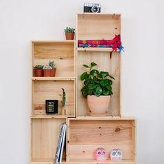 Une étagère avec des caisses à vin