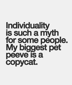 I feel pity for people that have no individuality. I have always been told to be flattered when someone copies me but it's a bit much when you try to be someone else completely.