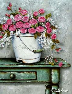 Stella Bruwer white enamel bucket with pink.roses on shabby green table Art Floral, Watercolor Flowers, Watercolor Art, Decoupage Paper, Vintage Diy, Pictures To Paint, Vintage Flowers, Pretty Pictures, Painting Inspiration