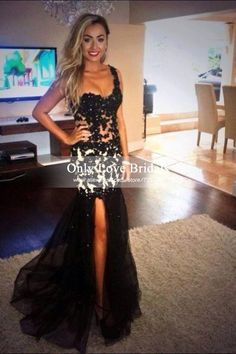 Vestido Longo Black Tulle Long Mermaid Prom Dresses 2015 Sexy One Shoulder See Through with Appliques Evening Party Dress Cheap