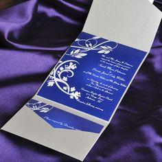 Elegant Blue Floral Damask Pocket Wedding Invitations
