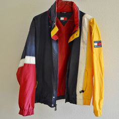 496b76edc Red Yellow Blue White Tommy Hilfiger Windbreaker Jacket Vintage 90s  Oversized XL Yellow Windbreaker, Vintage