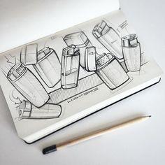 """Sketch session #2 """"lighters"""". #sketch #sketchbook #industrialdesign #scribble #idsketching #instasketch #produktdesign #id #idsketching #industrialdesigner #sketchzone #productsketch #skizze #skizzenbuch #lighter #zippo"""