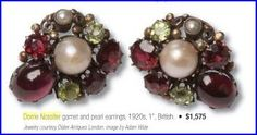 """Dorrie Nossiter. Arts and Crafts garnet, pearl and ?peridot earrings. 1""""."""