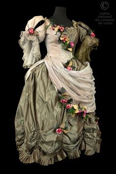 Dance Dress: 1952. Danseuse. Dress style 18th century changing grey taffeta and tulle grey trimmed with garlands of roses artificial flowers and green foliage. Front