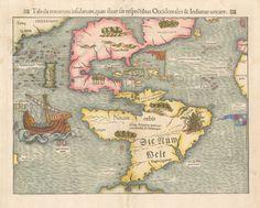 1550 Tabula Novarum Insularum quas Diversis Respectibus Occidentales & Indianas uocant