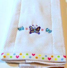 Baby Burp  Cloth Embroidered Butterfly Butterflies Heart Dot Trim | KallieJosCottonPatch - Children's on ArtFire