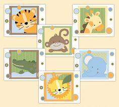 Safari Animal Wall Art Prints Baby Boy Jungle Neutral Nursery
