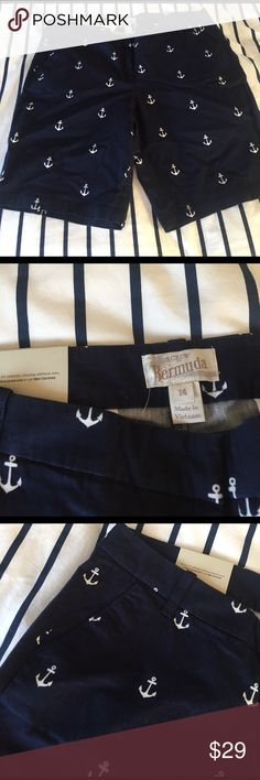"J.crew Bermuda shorts City fit stretch chino. Inseam 10"". Navy with white anchor detail. NEW WITH TAGS. J. Crew Shorts Bermudas"