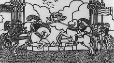 """""""Untitled (Jousting Tournament)"""", 1916, Unknown, woodcut on paper, 9 1/2 x 16 5/8 in. Gift of Etta and Claribel Cone, 1950. 1950.2178"""
