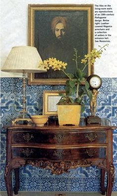 In this Californian home, Portuguese tiles were famously used extensively throughout the property.   Here in the living room, the tiles are used as a wainscot.  Michael S. Smith