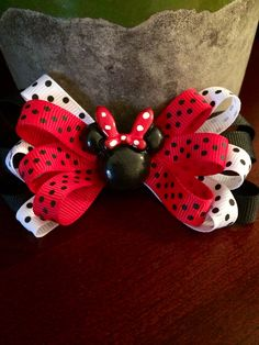 Black, Red and White Minnie-Inspired Bow sold by pria mia on Storenvy Polka dots galore for this Minnie-inspired bow! 3 layers of loops are accented with a black Minnie centerpiece to add to the cuteness. The bow measures approximately White Hair Bows, Ribbon Hair Bows, Girl Hair Bows, Diy Ribbon, Disney Hair Bows, Minnie Mouse Bow, Hair Bow Tutorial, Boutique Hair Bows, Making Hair Bows
