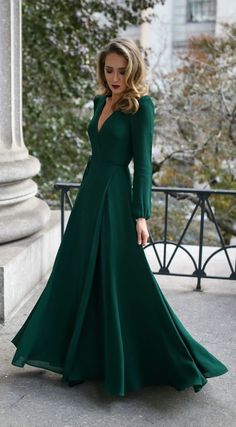 30 DRESSES IN 30 DAYS: Black Tie Wedding Guest // Emerald green long-sleeved floor-length wrap dress, black and gold geometric pattern evening clutch, multicolor beaded statement earrings, black velvet kitten heel pumps with bow detail {Miu Miu, Zara, Ref
