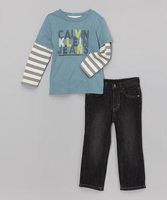 Product Code: CKJX-00006 Item Description:Blue Cotton Tee and Dark  Wash Jeans藍色棉質汗衫&深色洗水牛仔褲 Size:12M(12Months, 71.1-76.2cm), 18M(18Months, 76.2-81.3cm) Price:HK$355 Whatsapp :(+852) 6924-3068 http://www.facebook.com/BeesyTots