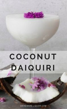 This cocktail is a twist on the classic daiquiri with added coconut for a tropical flavor. This is the perfect daiquiri to make and drink with friends at a dinner party or happy hour. Make this twist today and get tropical! Classic Cocktails, Summer Cocktails, Cocktail Drinks, Cocktail Recipes, Frozen Daiquiri, Frozen Drinks, Party Drinks, Fun Drinks, Alcoholic Beverages