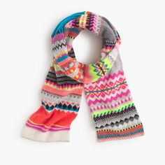 Founded in 1986 in Galashiels, Scotland, Eribé puts a contemporary twist on traditional Scottish knitwear. Handmade from 100 percent lambswool in a cheery Fair Isle remix, this scarf is a festive (and warm) addition to your winter uniform. <ul><li>Lambswool.</li><li>Online only.</li></ul>