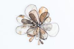 """Flora 2""  380mm x 380mm, framed in Tasmanian Oak Eco-dyed silk, organza, cotton, bamboo batting, thread, sequins, beads."