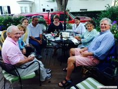 2014-12-15 Jazz Night, photographed at the Pentagoet Inn in Castine this past summer by Steve Trenholm.  Pictured left-to-right are Steve, Patti and Emily Wright, Billy Haverty, Jackie Facey, Sally Trenholm, Mimi Strahan and Fritz Homans.