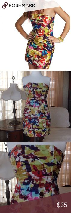 "BB dakota watercolor Ruched dress Worn just once. In excellent condition. It is 24.5"" long laying flat. Shell and lining are made of 100% cotton.                                       f BB Dakota Dresses Mini"