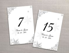 Wedding Table Numbers Microsoft Word Template - Winter Silver Snowflakes for weddings and events