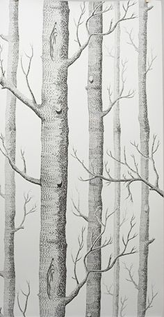 The Original Tree Silhouette - Chocolate Brown on Silver [OTR-100] : Designer Wallcoverings, Specialty Wallpaper for Home or Office