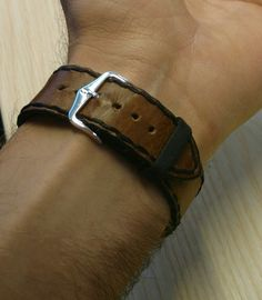 Brown leather watchstrap handmade by The Anvil Workshop