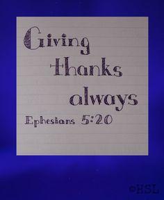 Home Sweet Life: Ephesians 5:20