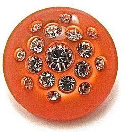 "Button Orange with Rhinestones 1"""
