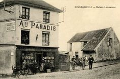"""A vintage postcard from 1915 shows the cafe """"Au Paradis"""" in its heyday. Punters pose outside the establishment and the facade is d..."""