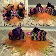 Twisted Chevron Boutique bow in Halloween or Thanksgiving by CherylsBowtasticBows
