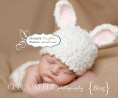 PATTERN, Crochet Baby Hat, BUNNY Hat Pattern , Photography PROP, Baby Hat Pattern, Diaper Cover Pattern - 6 to 9 Months. $6.99, via Etsy.