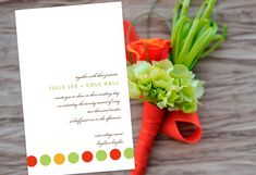 Circle Of Love Rectangle Wedding Invitation, personalized in Lime, Orange Red & Carrot