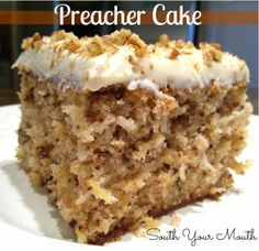 Preacher Cake is a simple cake recipe with pineapple, coconut, pecans and a cream cheese frosting.