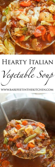 Hearty Italian Vegetable Beef Soup recipe filled with chunks of ground beef…