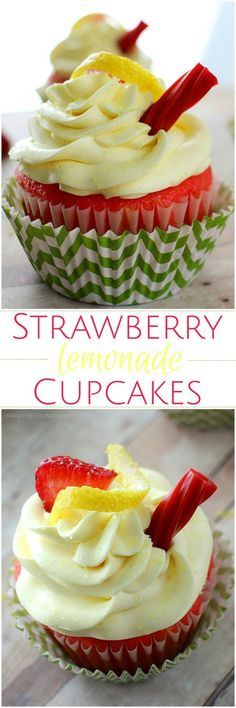 Deliciously moist with a few surprise ingredients, you must try these strawberry lemonade cupcakes! It's like a little something from the summer :) Deliciously moist with a few surprise ingredients, you must try these strawberry lemonade cupca Cupcake Recipes, Baking Recipes, Cupcake Cakes, Dessert Recipes, Cupcake Icing, Party Recipes, Summer Recipes, Köstliche Desserts, Delicious Desserts