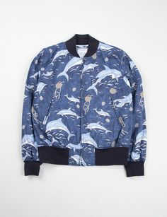Engineered Garments Navy Dolphin Print Aviator Jacket