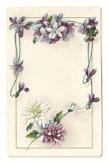 Antique Images: Free Printable Flower Frame: Vintage Flower Border Design with Forget-Me-Not Flowers