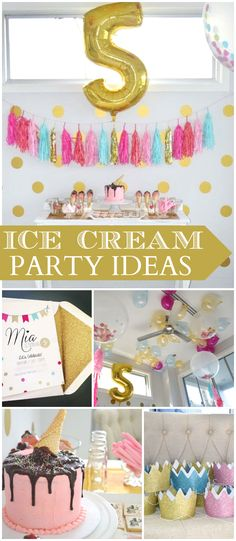 Such a pretty pink, aqua, gold ice cream birthday party! See more party ideas at CatchMyParty.com!