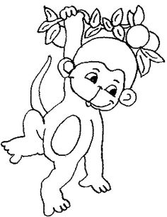 monkey cute baby monkey hanging on tree coloring page for kidsjpg