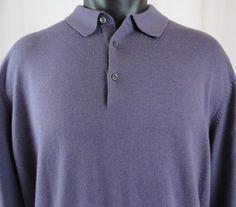 HUGO BOSS XL Sweater Cashmere Silk Wool Purple Pullover Polo 3 Button Collar  #HUGOBOSS #Polo