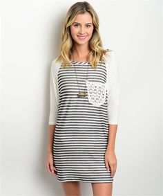 #stripeddress #boutiquedress #casual | Women's Black & Ivory Striped Casual Boutique Dress | Cali Boutique | FREE U.S. shipping!