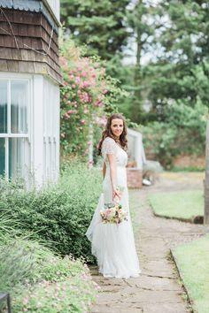 Bride in Rachele Ronald Joyce Wedding Dress - Katy Melling Photography | Blush Family Wedding at Old Horton Grange Farm in Yorkshire