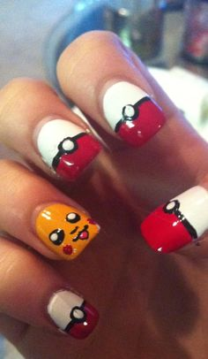 Pokemon Nail Polish Art - why would someone do this? lol