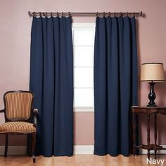 Aurora Home Pleated 84-inch Blackout Curtain Panel Pair (Navy), Blue, Size 42 x 84 (Polyester Blend, Abstract)